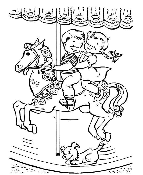 Kids Ride Carousel Horse Coloring Pages Best Place To Color