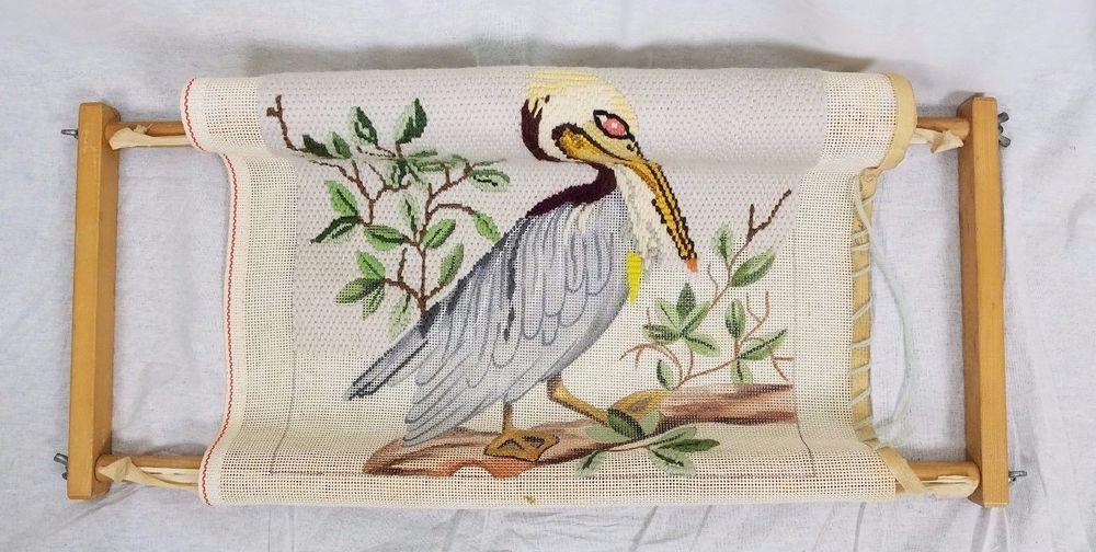 Vintage Bargello Needlepoint Crane Bird Pelican Canvas Wooden Lap ...