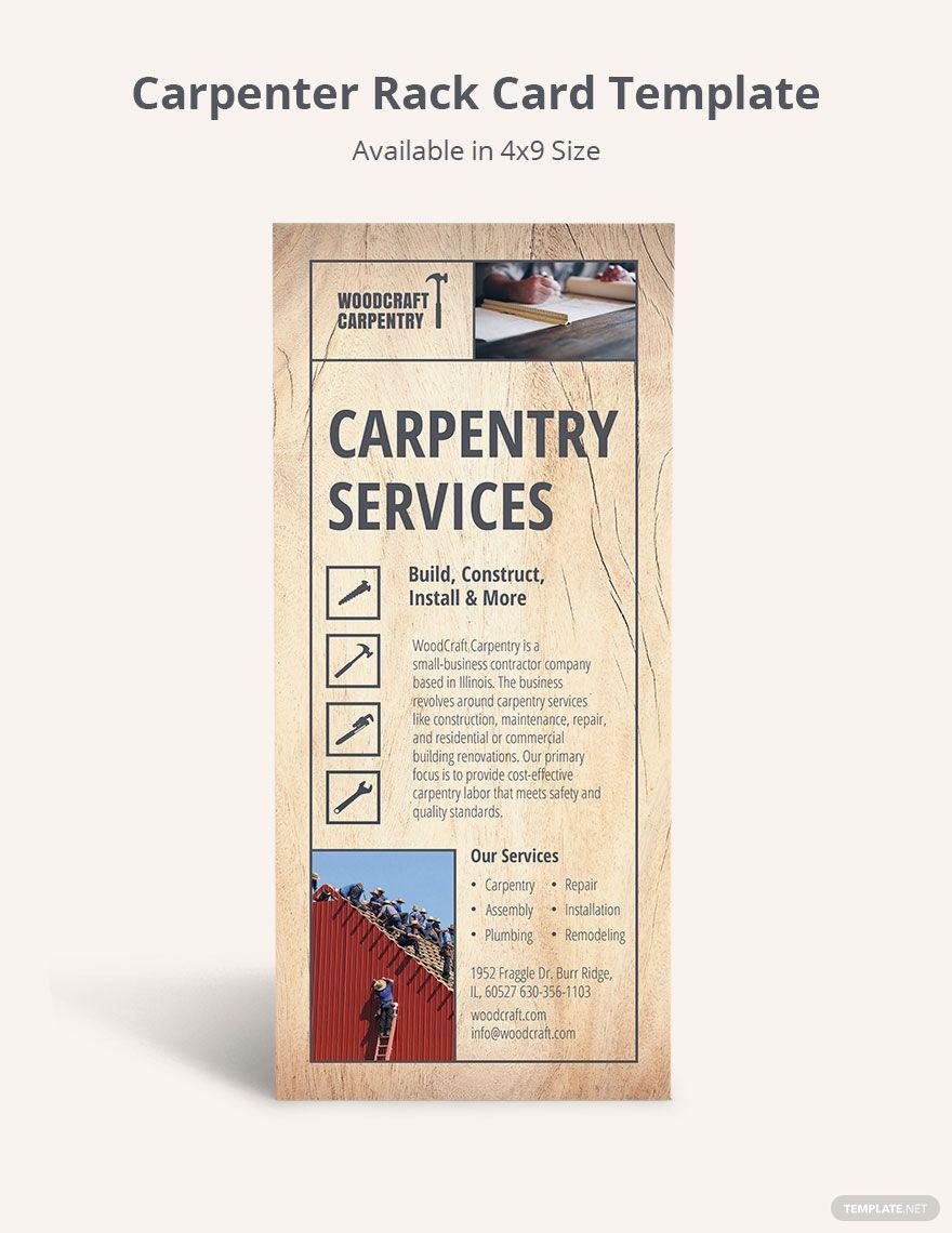 Carpenter Rack Card Template In 2020 Rack Card Templates Rack Card Card Template