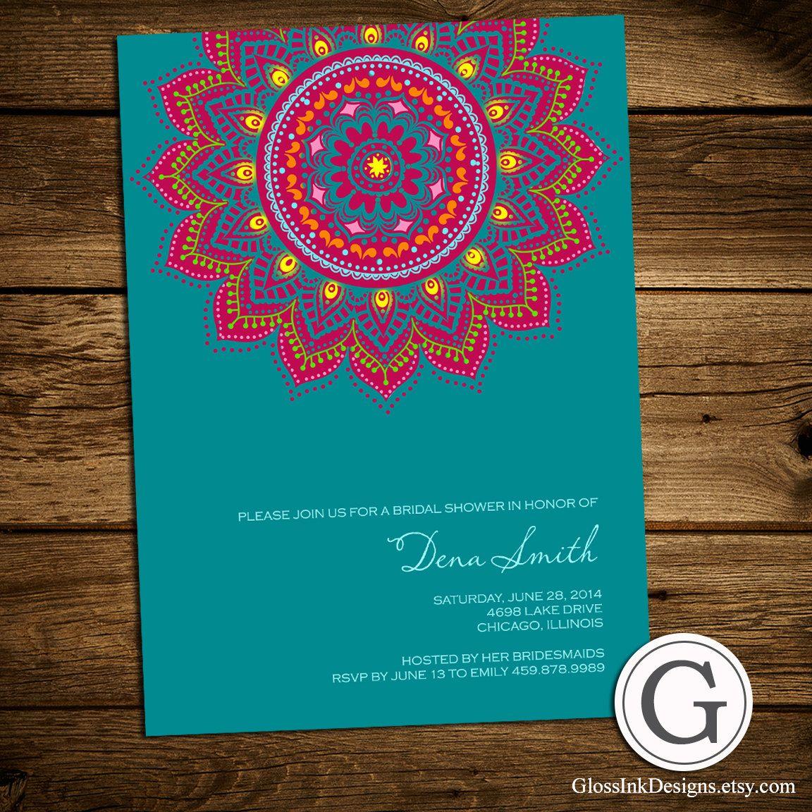 Bridal Shower Invitation - Traditional Henna, mehndi design, Eid ...