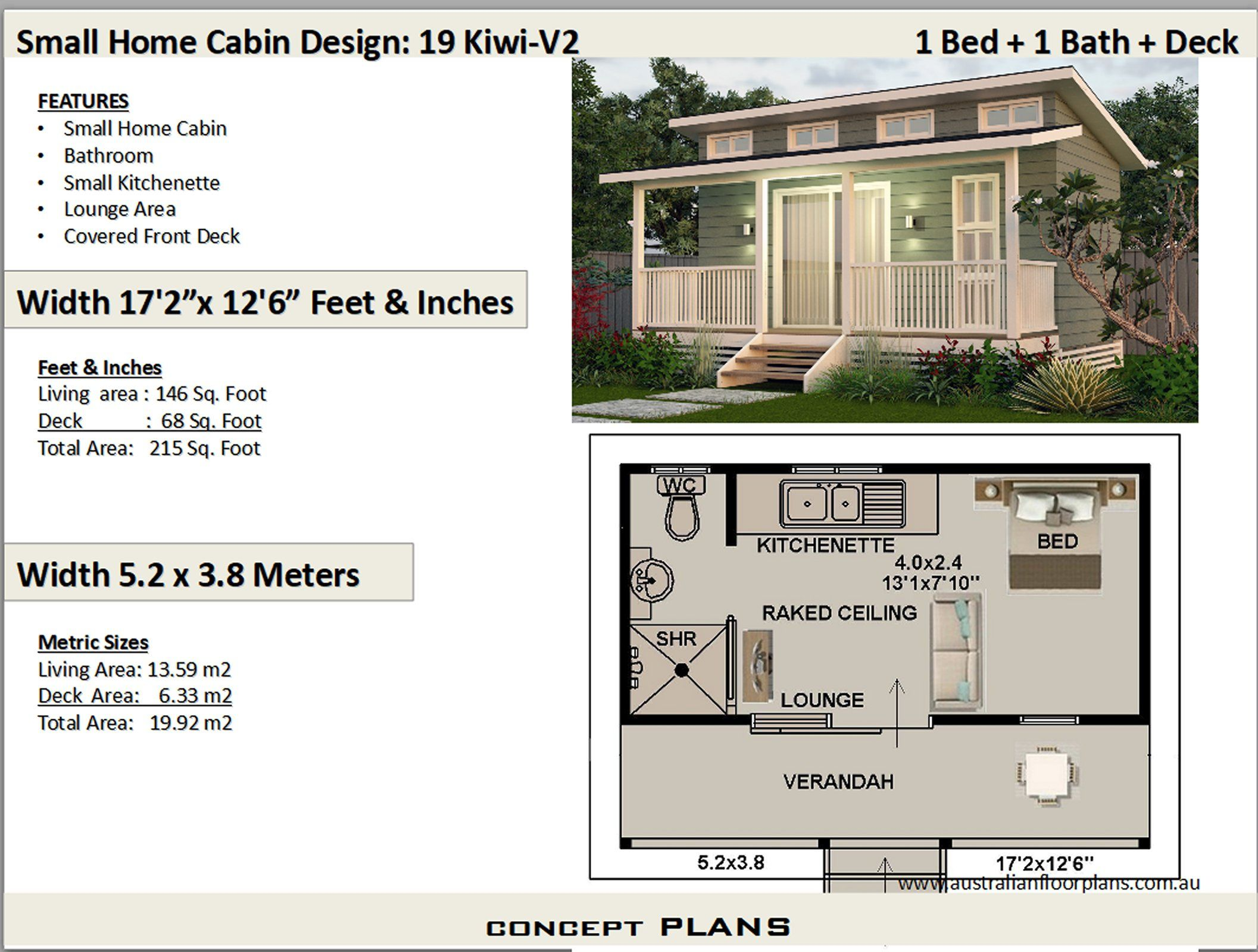 19 Kiwi V2 Small 1 Bedroom Cabin House Plan 19 2 M2 215 Sq Ft In 2020 Tiny House Plans Cabin House Plans Duplex House Plans
