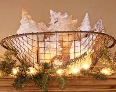 Indoor Christmas Lights Ideas With A Nautical Beach Theme Coastal Christmas Decor Beach Christmas Decorations Coastal Christmas