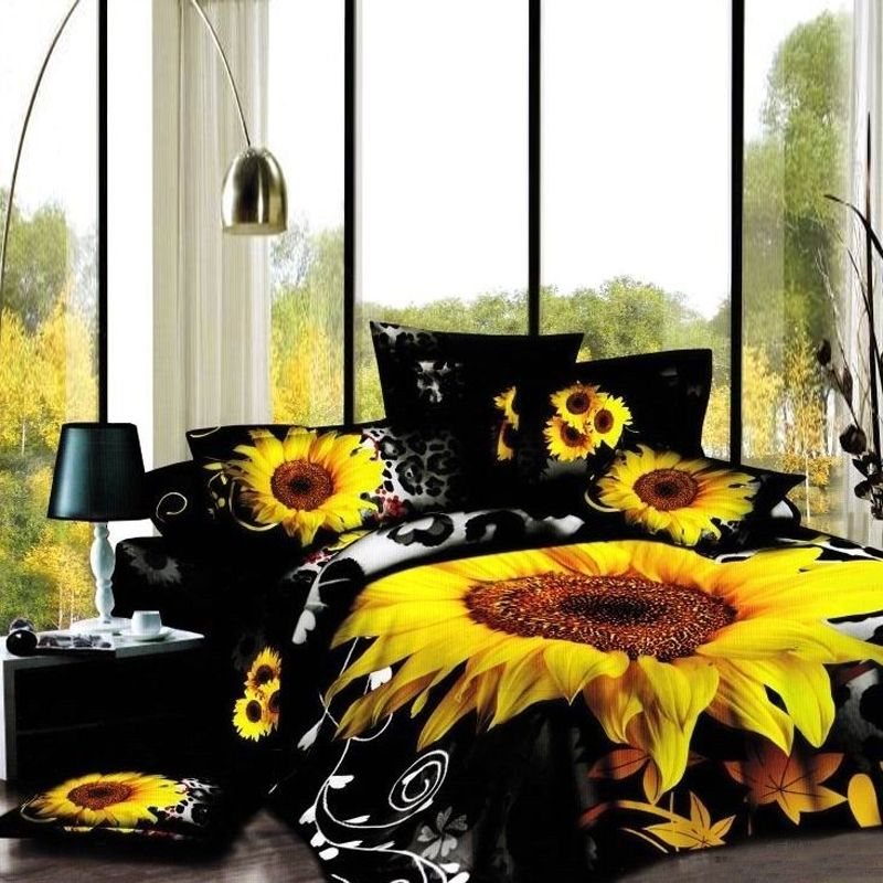 Yellow Orange And Black Sunflower Print Vintage Country Chic