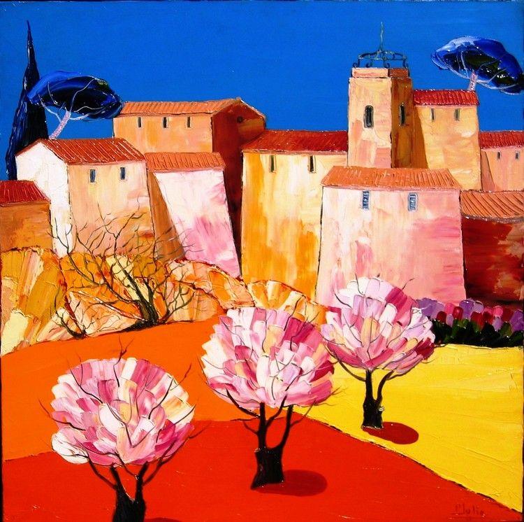 Avril en provence peinture 80x80x4 cm par julie - Tableau couleur chaude ...