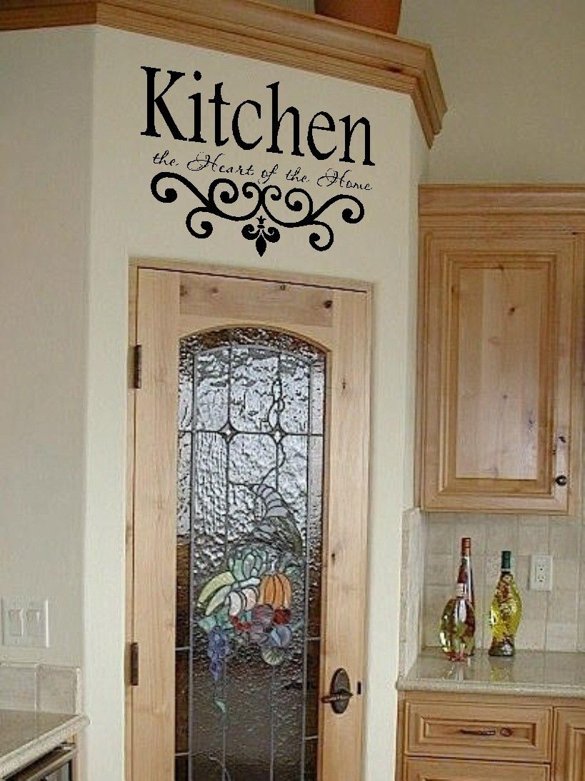 Kitchen vinyl wall decal kitchen the heart of the home lettering