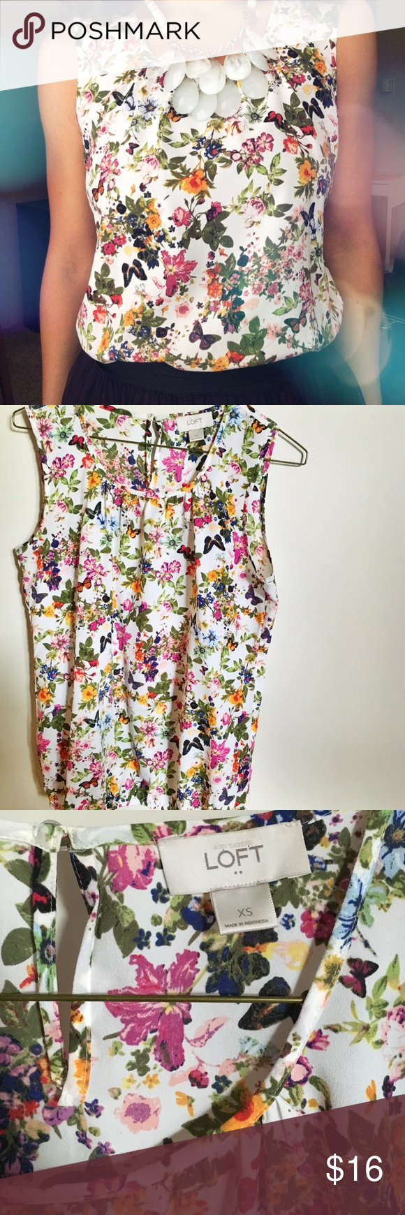 LOFT Floral Tank EUC! Worn only a couple times! Fits like a Small not an XS. Key hole in back neck. Elastic band at the bottom for perfect fit! Airy and light top! LOFT Tops Blouses