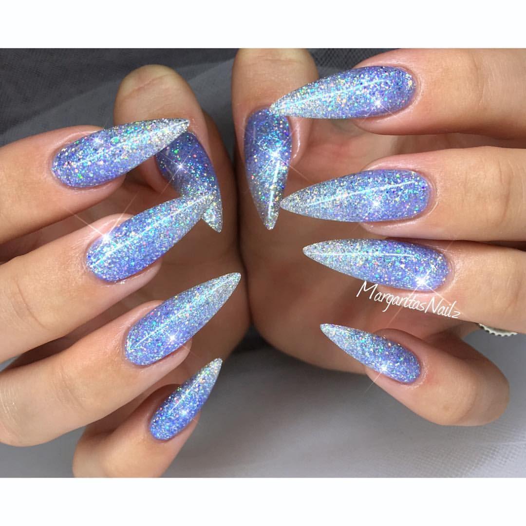 blue glitter ombr stiletto nails