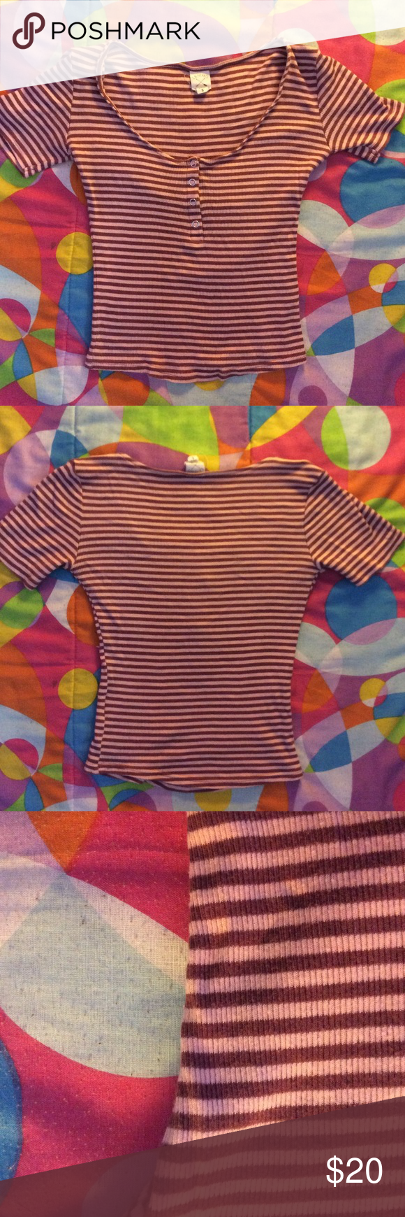 LA hearts stripped top!❤️ Pink and red stripes! Super cute and comfortable  Great condition and quality... Feel free to ask questions! ✨ LA Hearts Tops