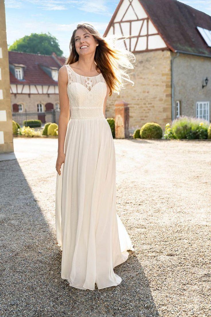 N ° 7383 Valentina – Brautkleid aus Chiffon mit Guipure-Bordüren in einem … gestrickt ideen