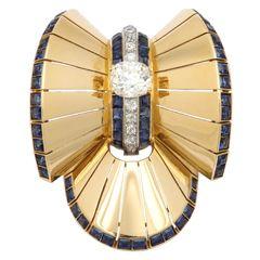 Van Cleef & Arpels Retro Gold Diamond Sapphire Pin