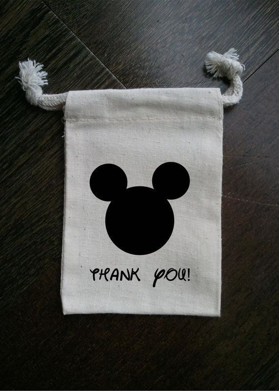 Mickey Mouse Inspired Muslin Party Favor Bag By Foxybox On Etsy 2 50