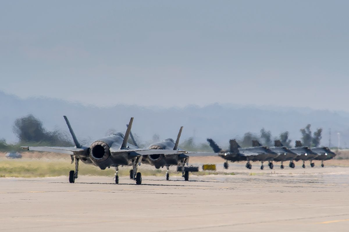 F-35A pilots from the 61st Fighter Squadron at Luke AFB, Arizona, line up to take off in late June 2015. Photo by Angel Delcueto