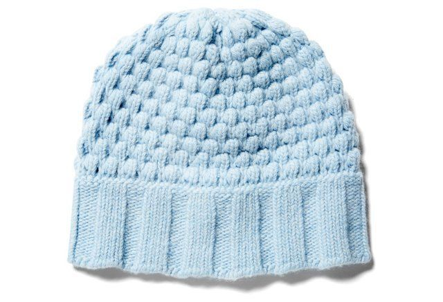 Cashmere Chunky Popcorn Hat, Baby Blue