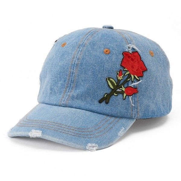 Women s Mudd® Rose Applique Denim Baseball Cap (39 PEN) ❤ liked on Polyvore  featuring accessories 9a5384ac1fe