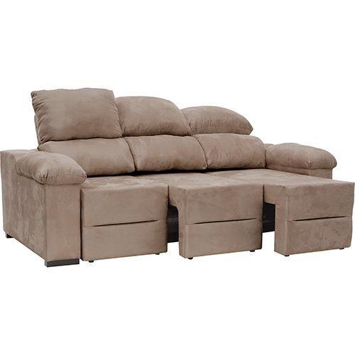 Sof 3 lugares reclin vel e assento retr til ripley suede for Sofa 5 lugares reclinavel e assento retratil