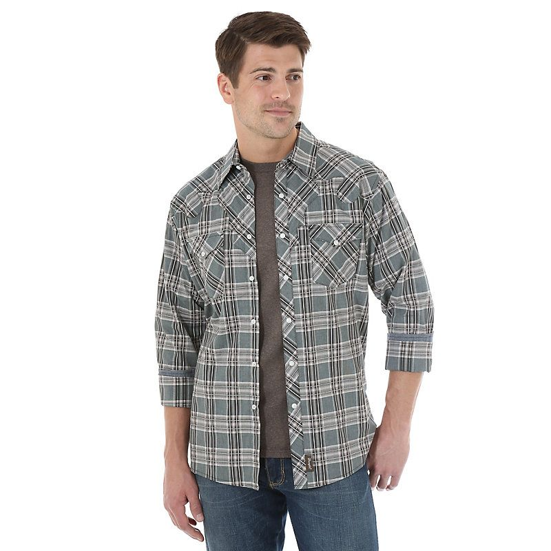 Wrangler Men's Long Sleeve Spread Collar Plaid Shirt:BlackKhaki (Size: Small) Black
