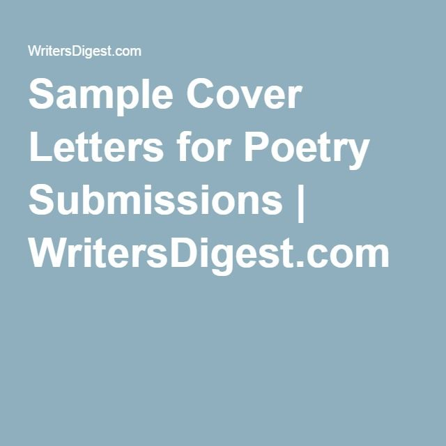 Sample Cover Letters For Poetry Submissions Writing