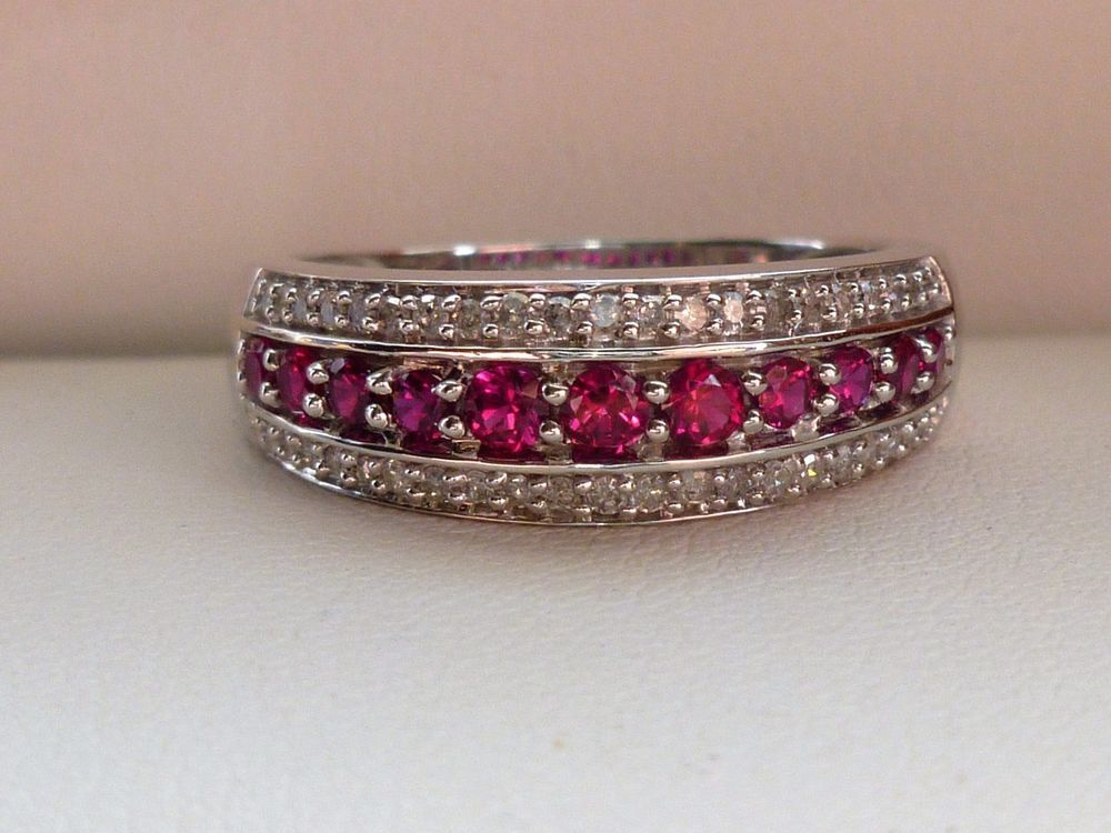 New Ruby Diamond Anniversary Cigar Band Ring 10k White Gold Sz 7 Jwbr Band Cigar Band Ring Diamond Anniversary White Ring