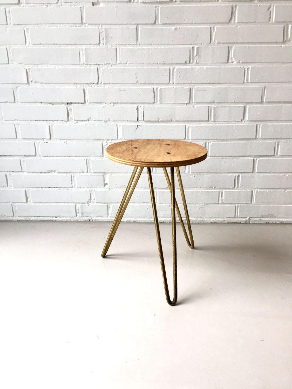 Vintage stool, mid century stool, Tripod stool, small table, tripod ...
