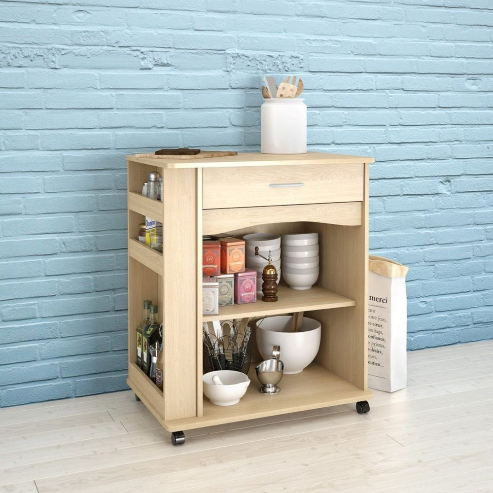 Kitchen Microwave Cart Rolling Storage Island Stand Natural Maple ...