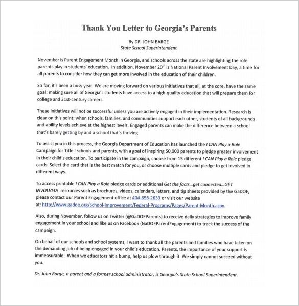 Thank You Letter Parents Free Sample Example Format Documents Pdf