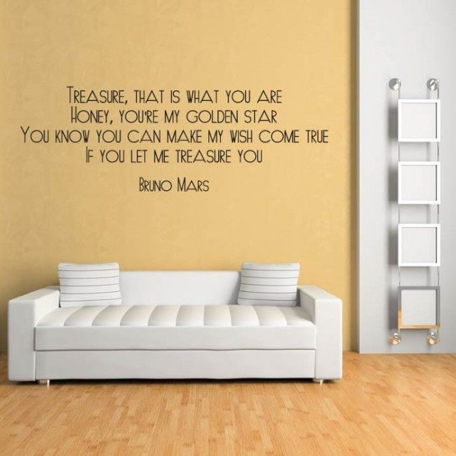 Treasure Wall Sticker Bruno Mars Wall Art | Song Lyric Wall Stickers ...
