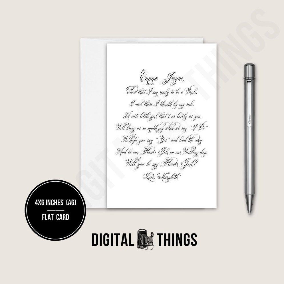Flower girl proposal card personalized calligraphy poem