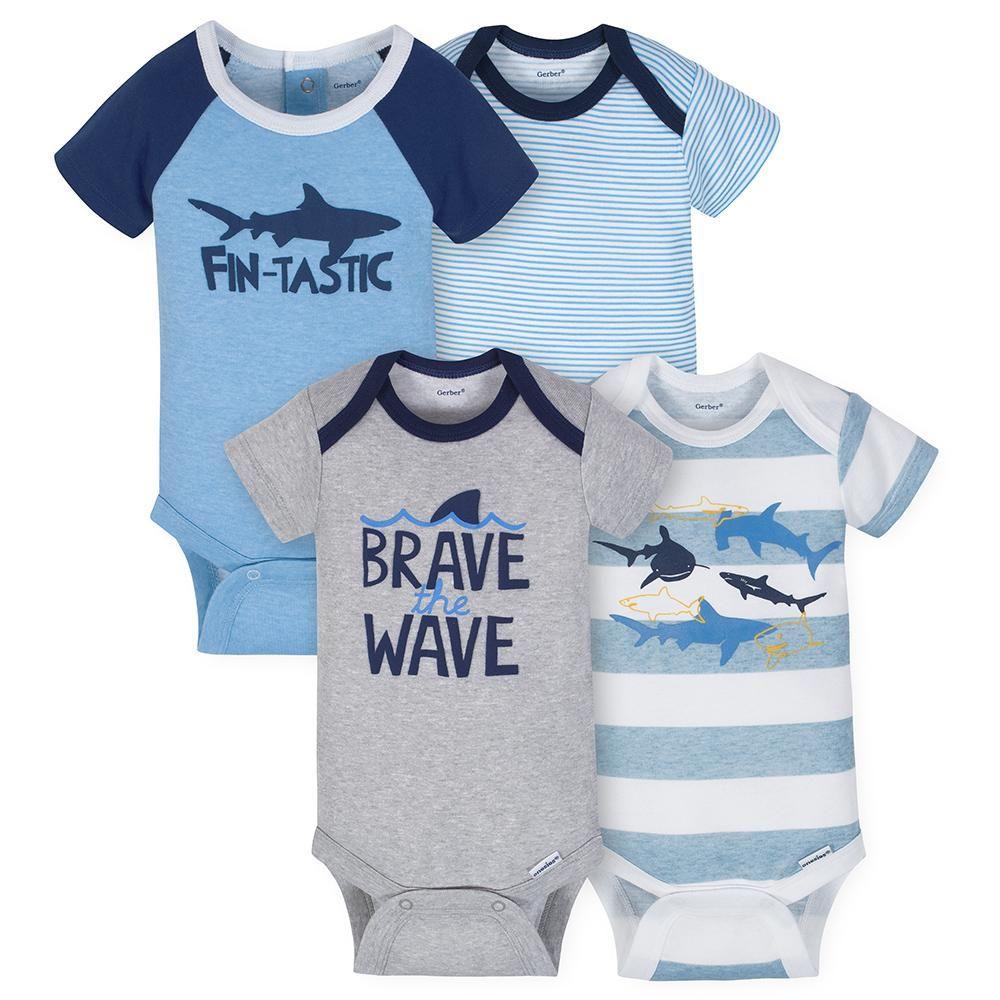 21f536eac 4-Pack Boys Whale Short Sleeve Onesies® Bodysuits | Onesies® Brand ...