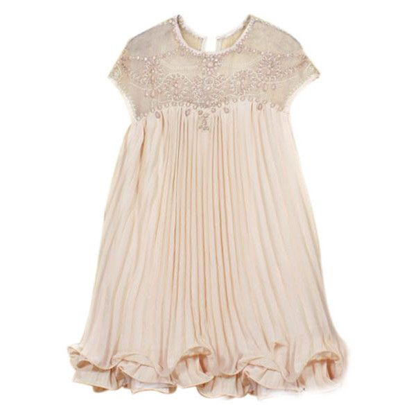 ROMWE Beaded Pleated Layered Apricot Dress, The Latest Street Fashion ($42) ❤ liked on Polyvore featuring dresses, romwe, double layer dress, pink dress, pink pleated dress, beaded dress and pink beaded dress