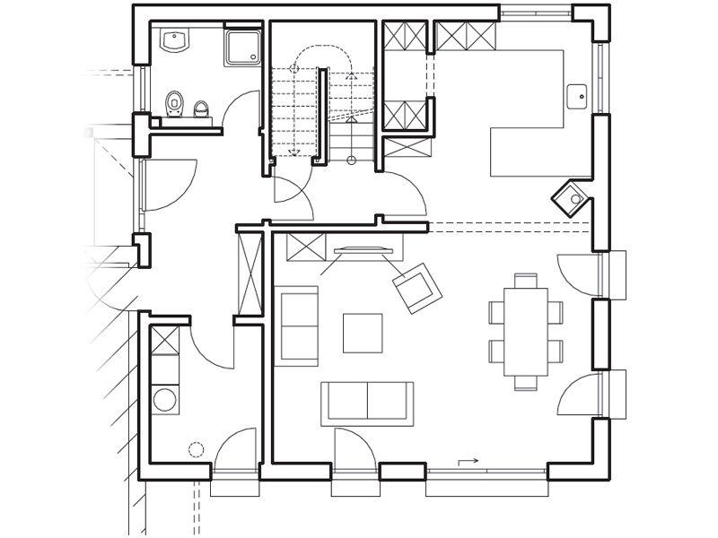 Ein Funktional Geschnittener Grundriss Mit Offener Küche Und Großer  Ess Wohnlandschaft überzeugt Im Erdgeschoss Des