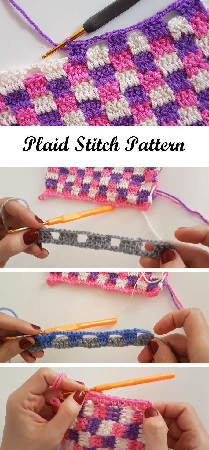 Crochet Plaid Stitch #crochetstitchespatterns