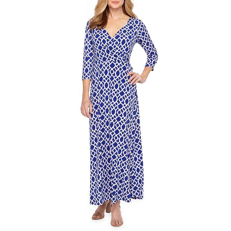 dc65ba2fac4 Ronni Nicole 3 4 Sleeve Geometric Maxi Dress