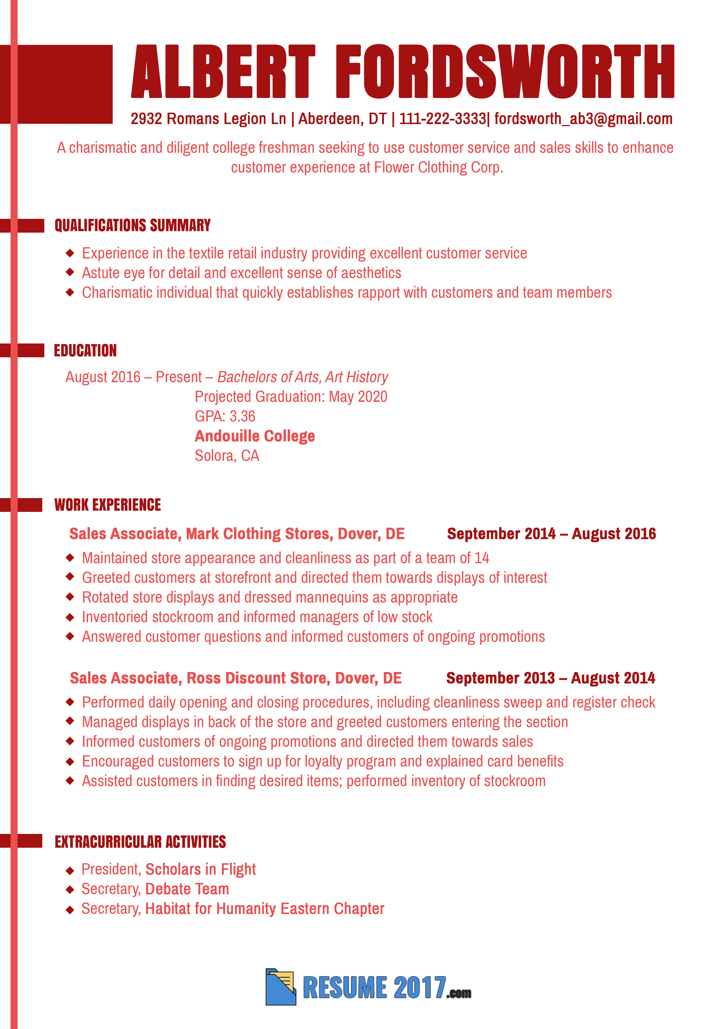 See this freshman proper resume sample to learn how to