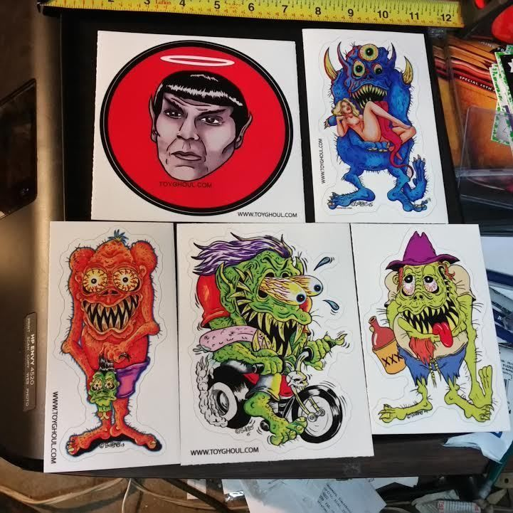 MONSTER ART STICKER LOT SCHERES HILLBILLY SPOCK TRICLOPS BIKER HEADHUNTER