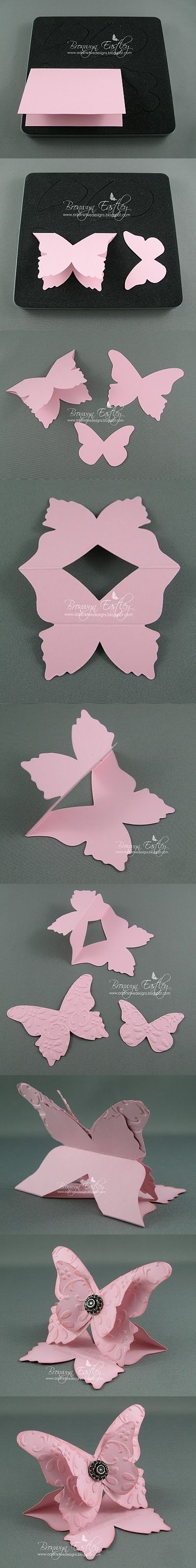 DIY 3D Butterfly-Shaped Greeting Card | www.FabArtDIY.com LIKE Us on Facebook ==> https://www.facebook.com/FabArtDIY