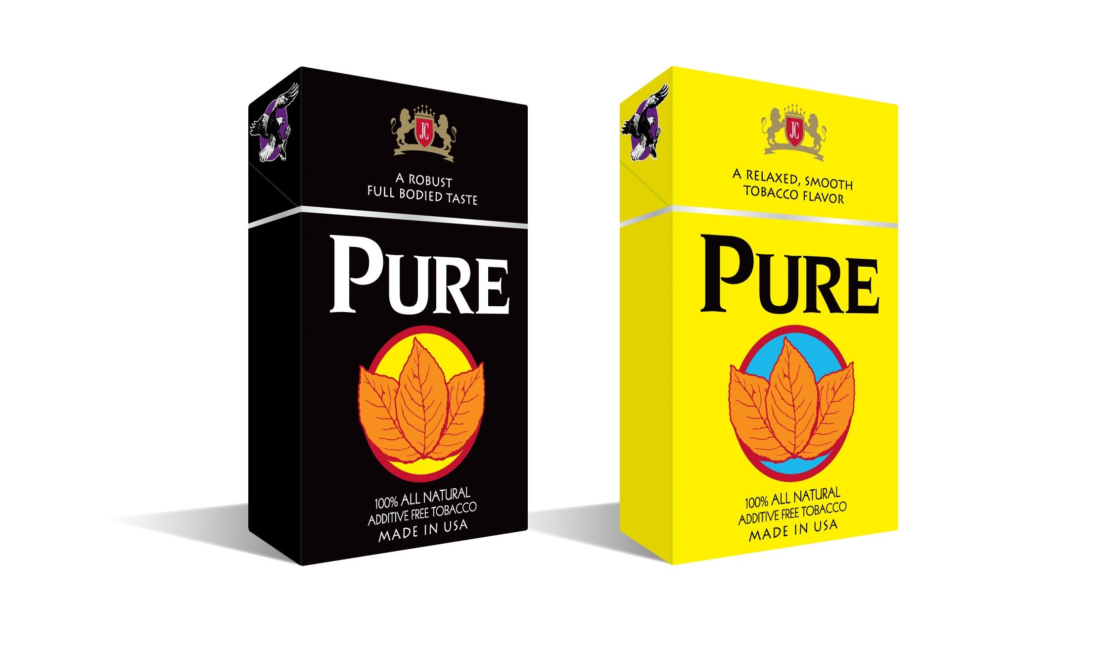 Crush-proof box package design we created for Pure cigarettes  www