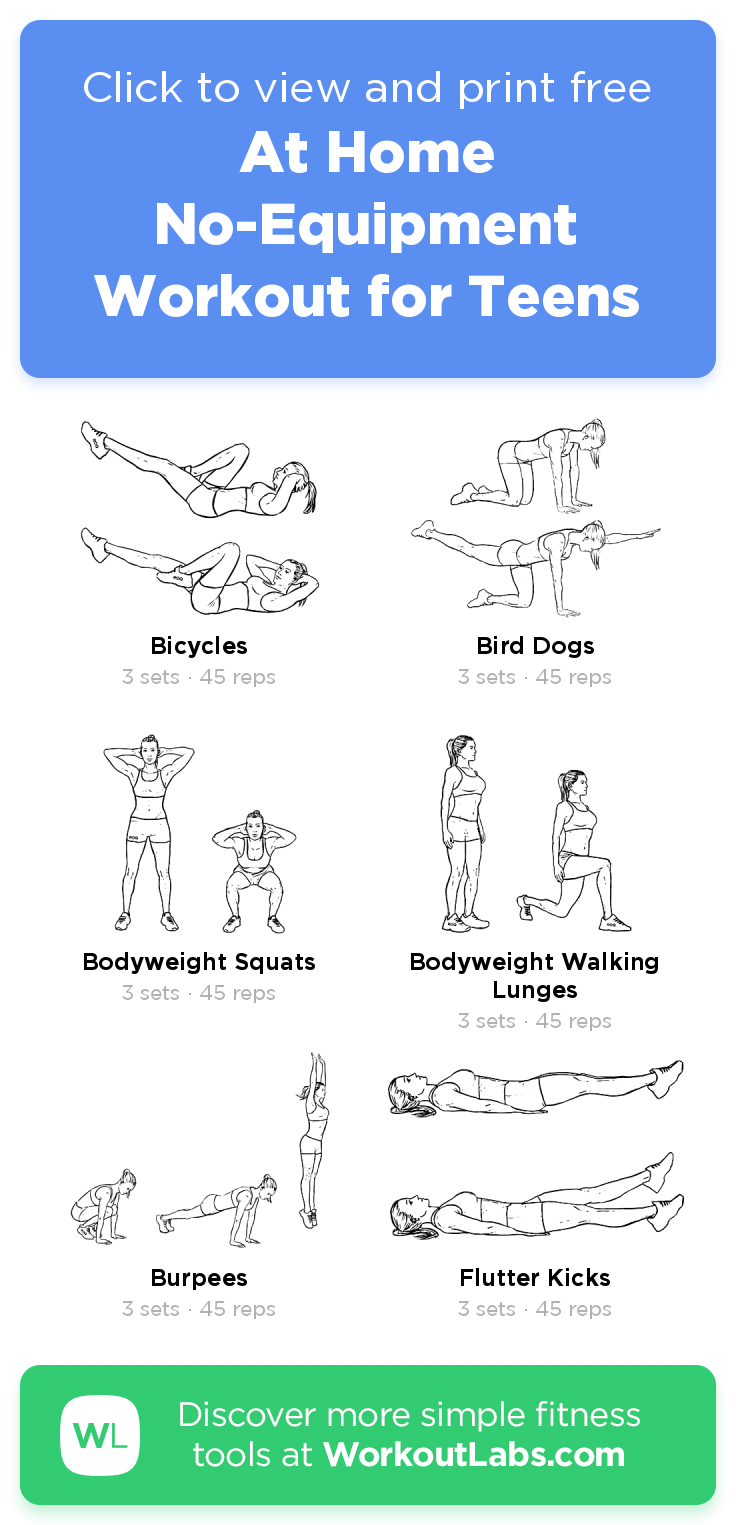 At Home No-Equipment Workout for Teens · WorkoutLabs Fit -   fitness Routine for teens