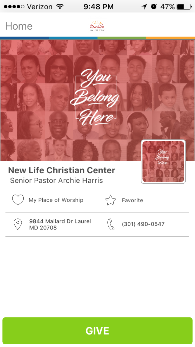 New Life Christian Center in Laurel, Maryland
