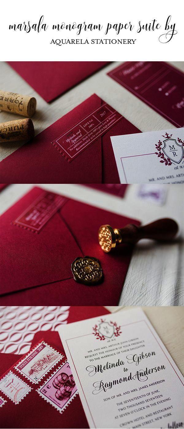 wine marsala Wine Wedding Invitations Vineyard Wedding Invitations ...