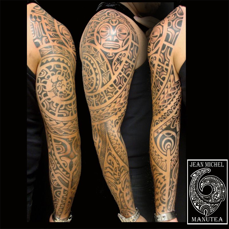 tatouage polynesien et maori homme manche compl te. Black Bedroom Furniture Sets. Home Design Ideas