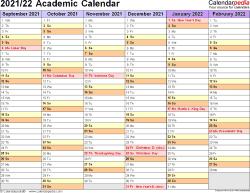 Fall 2022 Academic Calendar.Academic Year Calendar Templates For 2021 2022 In Microsoft Excel Format Academic Calendar Student Calendar Excel Templates