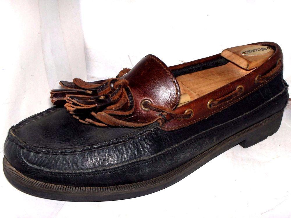 2cbd79eb0d0 SPERRY TOP SIDER WETLANDS MENS BLACK BROWN KILTIE TASSLE BOAT SHOES SIZE 10  M  SperryTopSider  BoatShoes