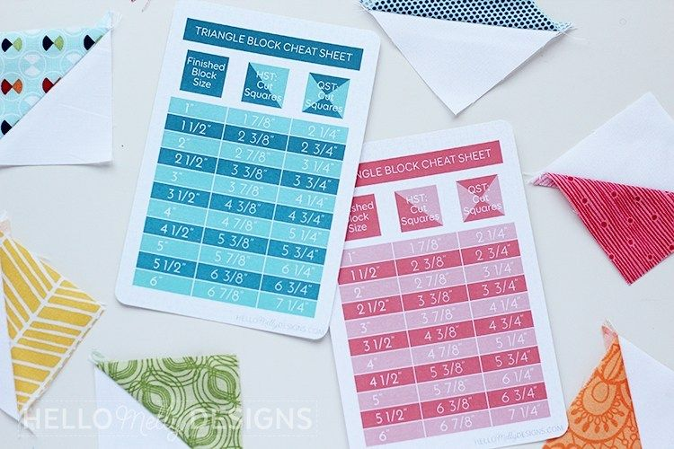 Triangle Block Cheat Sheet Free Printable is part of Cheat sheets, Cheating, Valentines printables free, Sheet, Quilt labels, Quilting tips - I like to keep my quilts fairly simple, but I still enjoy adding a little spice! The easiest way to do that, in my opinion, is to add triangle blocks  The simplest triangles are Half Square Triangl…