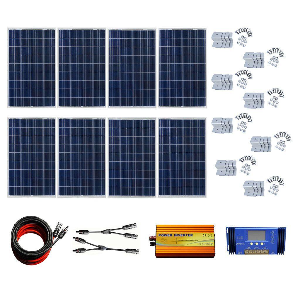 800w Solar Panel Home Kit Off Grid Inverter 60a Controller For 2400wh Day Camp Solar Panels 12 Volt Solar Panels Solar