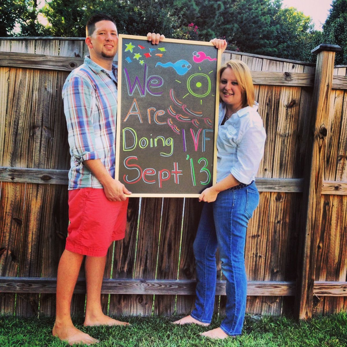 Chalkboard announcement ivf pregnancy. mine was in april, so maybe next time we do one we'll do this :)