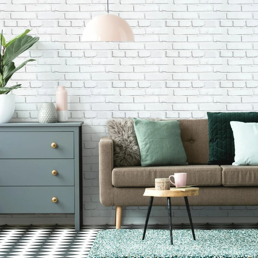 White Brick Peel And Stick Giant Wall Decals In 2020 Brick Wall Living Room White Brick Wall Living Room Brick Living Room