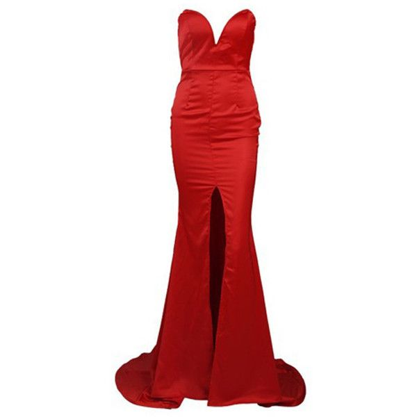 Honey couture red strapless formal gown dress (1.505 NOK) ❤ liked on Polyvore featuring dresses, gowns, long dresses, vestidos, red ball gown, formal evening gowns, formal dresses, sexy red dress and long formal dresses
