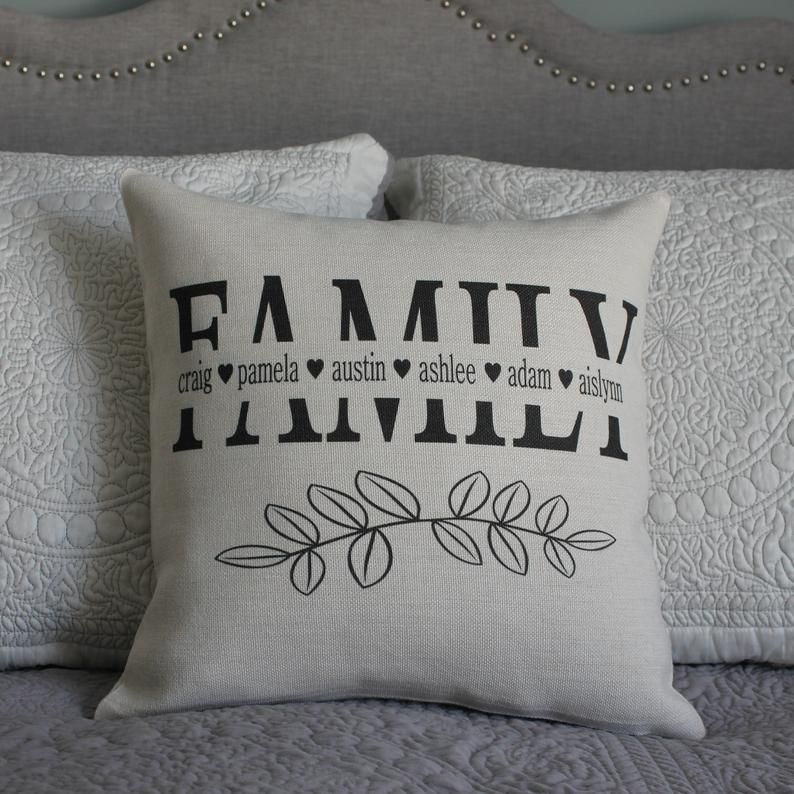 Personalized Family Pillow Cover, Rustic Linen Pillow, Name Pillow, Inspirational Pillow, Living Room Pillow