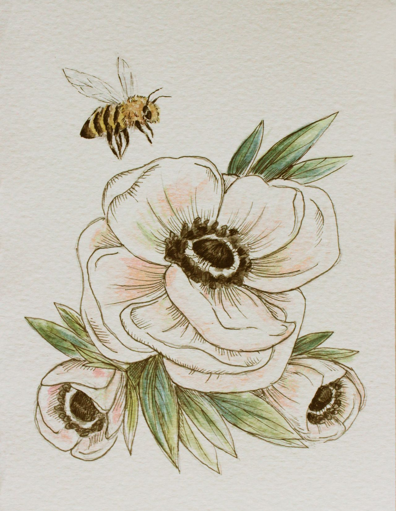 194132ecd1173 Anemones and Honey Bees Water color and ink | Honey Bee Landing ...