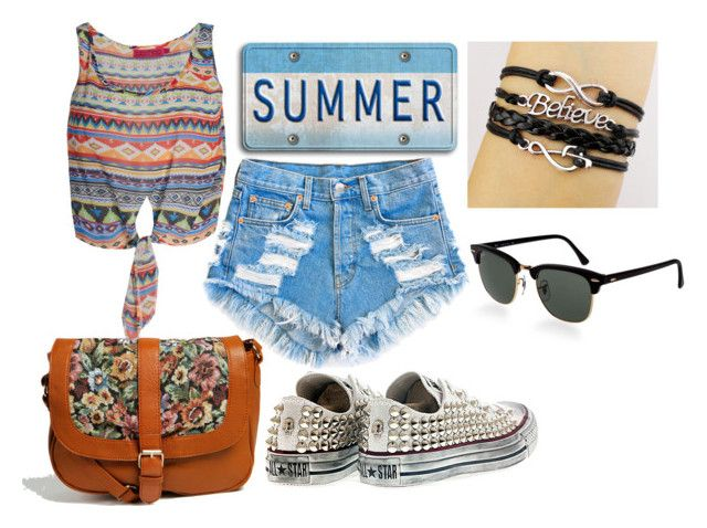 """""""I want summer"""" by stefania-98 ❤ liked on Polyvore featuring Boohoo, Converse, Ray-Ban, Summer and noblack"""